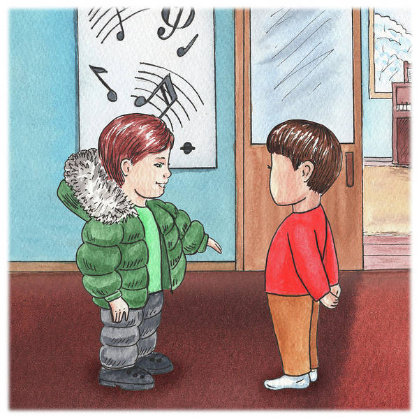 Happy Boy Painting - Two Boys At Music School by Irina Sztukowski