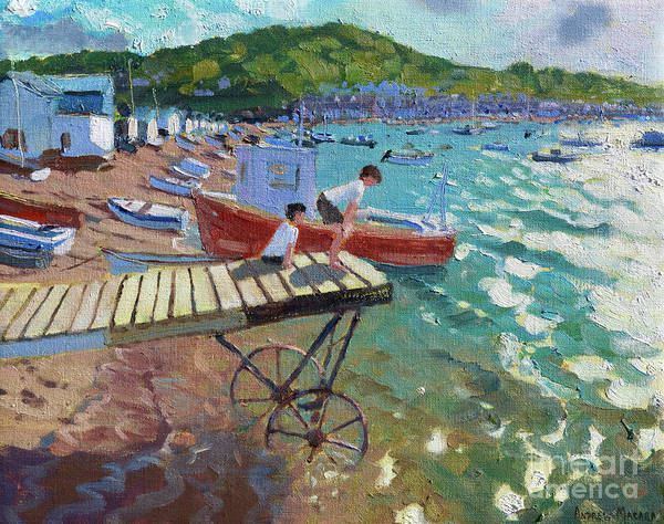 Summer Fun Painting - Two Boys On The Landing Stage, Teignmouth by Andrew Macara