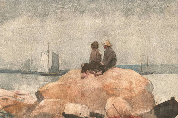 Painting - Two Boys Watching Schooners, 1880 by Winslow Homer