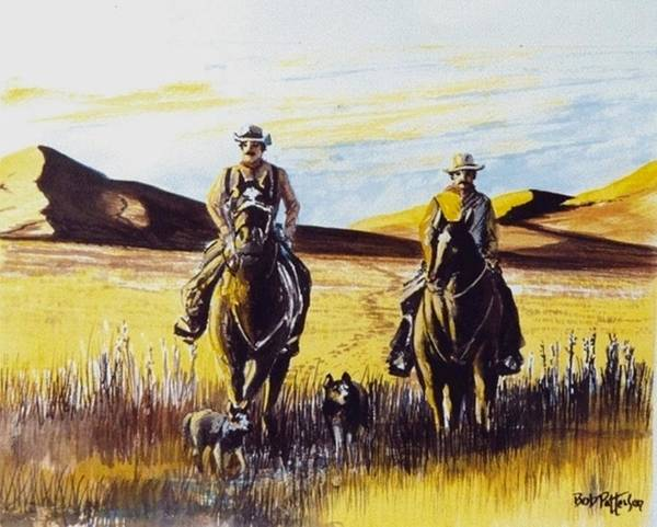 Horsemanship Painting - Two Brothers Riding Home by Bob Patterson