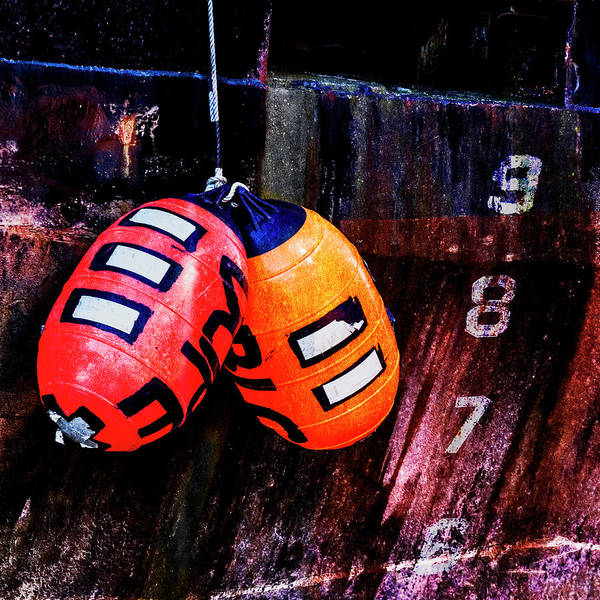 Wall Art - Mixed Media - Two Buoys Left Of Depth Square by Carol Leigh