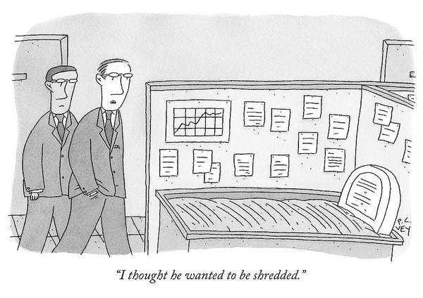 Thought Drawing - Two Businessmen Look Into A Cubicle Which by Peter C Vey