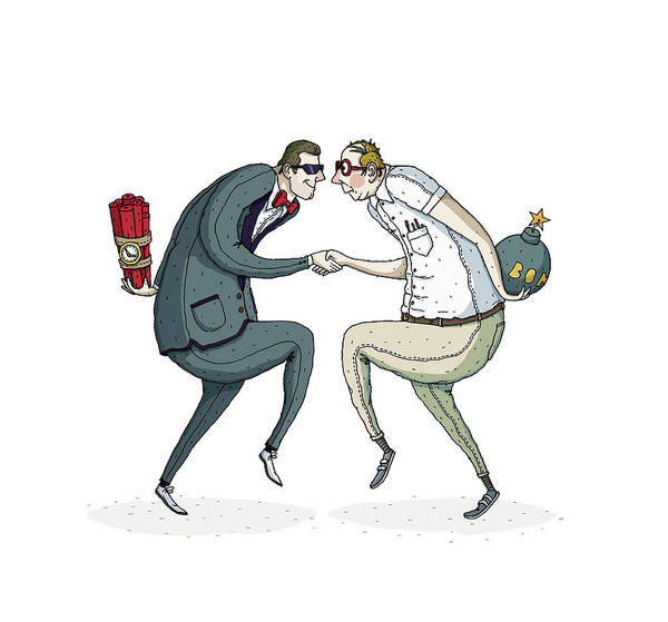 Threat Drawing - Two Businessmen Shaking Hands With Bombs Hiding In Hands by David M Galletly