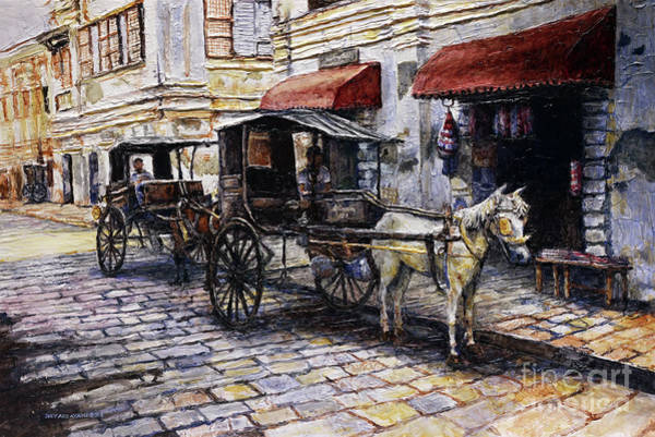 Wall Art - Painting - Two Carriages On Crisologo Street by Joey Agbayani