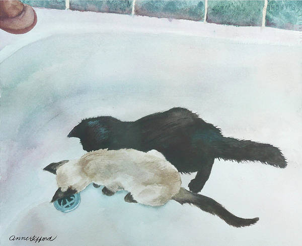 Wall Art - Painting - Two Cats In A Tub by Anne Gifford
