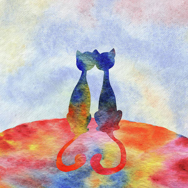 Painting - Two Cats In The Morning Silhouette by Irina Sztukowski