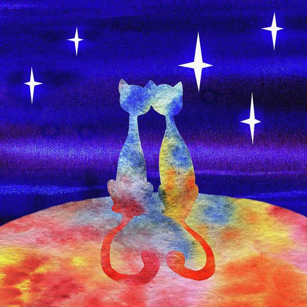 Painting - Two Cats Starry Night Silhouette by Irina Sztukowski