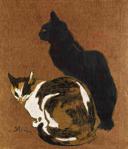 Wall Art - Painting - Two Cats by Theophile-Alexandre Steinlen