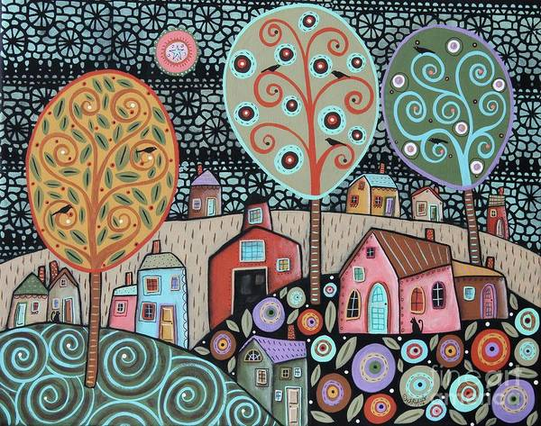 Blackbird Painting - Two Cats Village by Karla Gerard