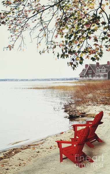 Photograph - Two Chairs By The Lake's Edge In Autumn by Sandra Cunningham