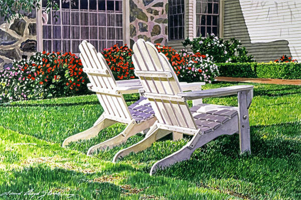 Adirondack Chair Wall Art - Painting - Two Chairs On Carmelina by David Lloyd Glover