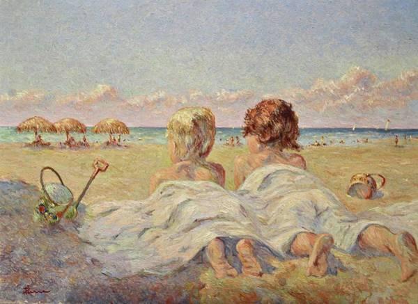 Two Children On The Beach Art Print