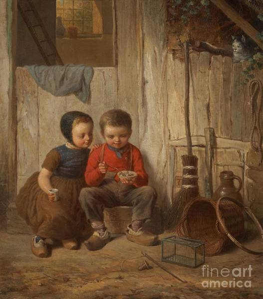 Meyer Painting - Two Children With Holding Bird's Nest by MotionAge Designs
