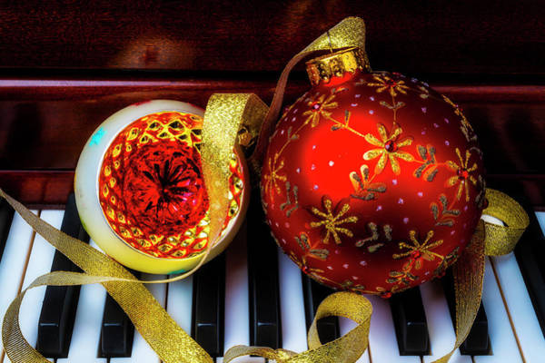 Wall Art - Photograph - Two Christmas Ornaments On Piano by Garry Gay