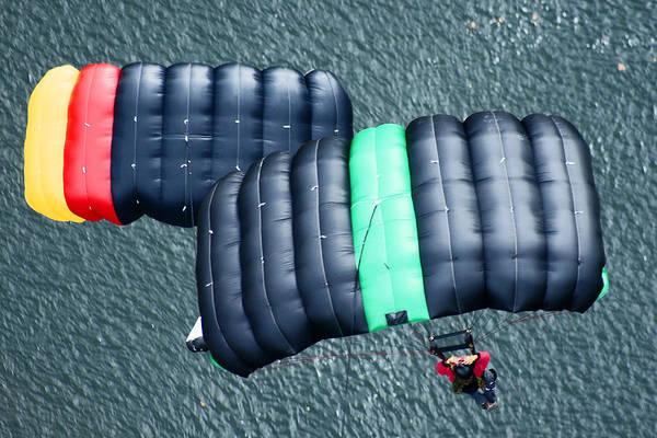 Base Jumping Photograph - Two Chutes by Robert  Suits Jr