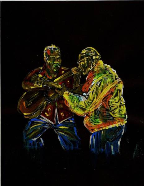 Ranchera Wall Art - Painting - Two Classical Guitar Players  by Americo Salazar