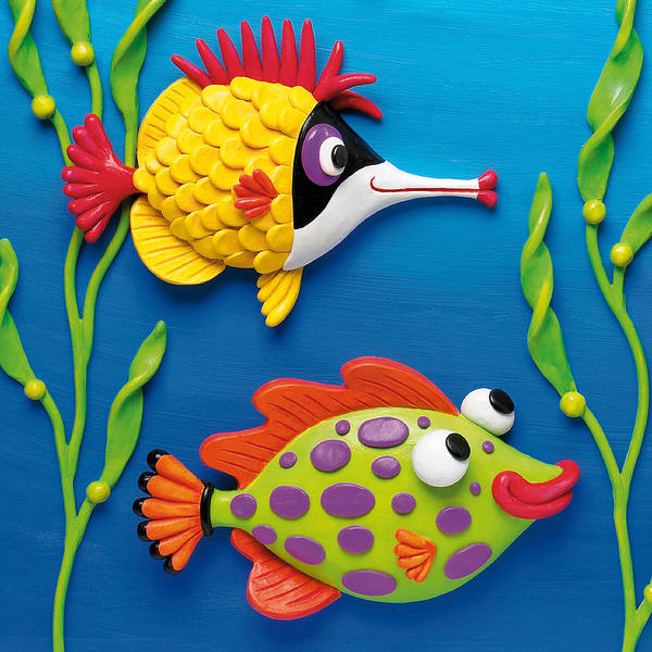Wall Art - Sculpture - Two Clay Art Tropical Fish by Amy Vangsgard