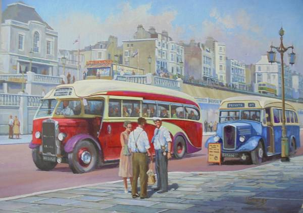 Brighton Painting - Two Coaches On Brighton Seafront. by Mike Jeffries