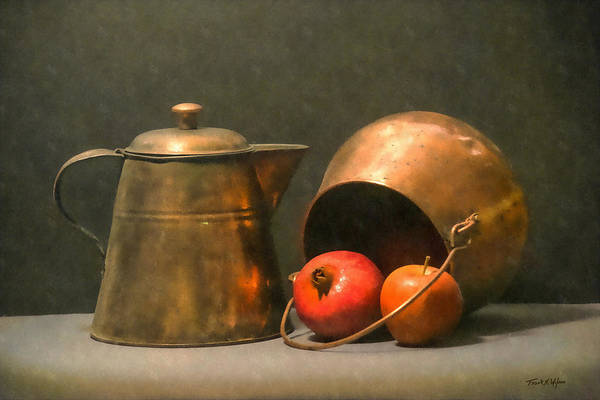 Wall Art - Photograph - Two Copper Pots Pomegranate And An Apple by Frank Wilson