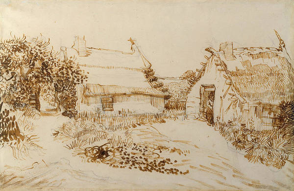 Drawing - Two Cottages At Saintes Maries De La Mer by Vincent van Gogh