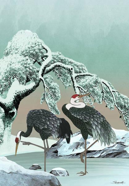 Digital Art - Two Cranes On Frozen Pond by M Spadecaller