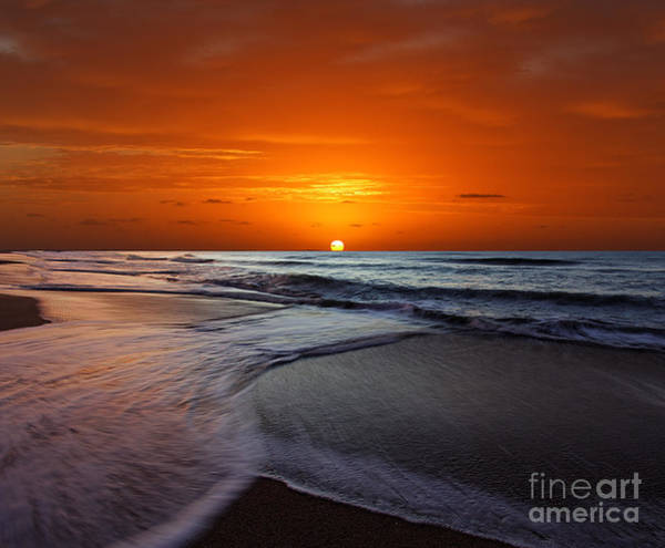 Foreshore Photograph - Two Crossing Waves At Sunrise by Luis Argerich