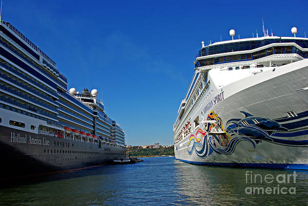 New York Wall Art - Photograph - Two Cruise Ships by Zal Latzkovich