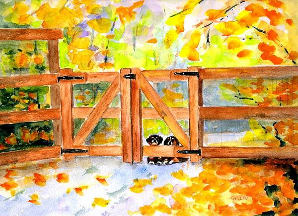Wall Art - Painting - Two Cute Dogs Waiting by Carlin Blahnik CarlinArtWatercolor