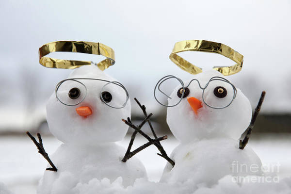 Purple Carrot Photograph - Two Cute Snowman Angles With Golden Halos by Simon Bratt Photography LRPS