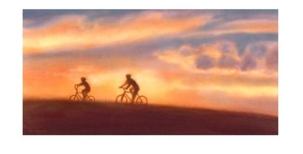 Wall Art - Photograph - Two Cyclists Riding At Sunset by Gillham Studios
