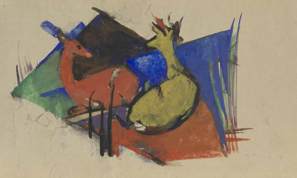 The Blue Rider Wall Art - Painting - Two Deer Lying Down by Franz Marc