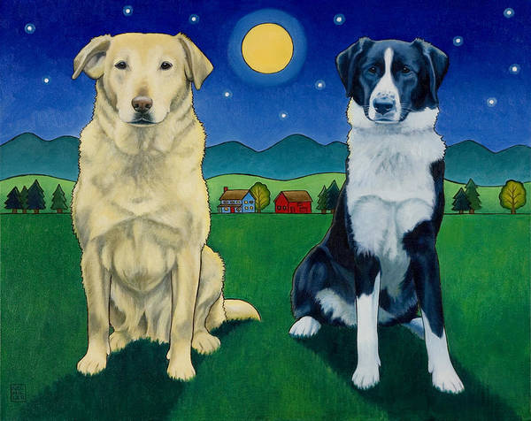 Wall Art - Painting - Two Dog Night by Stacey Neumiller
