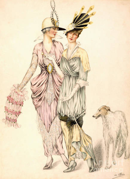 Long Dress Painting - Two Dresses For The Goodwood Races by English School