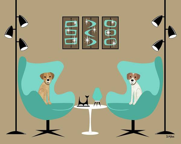 Digital Art - Two Egg Chairs With Dogs by Donna Mibus