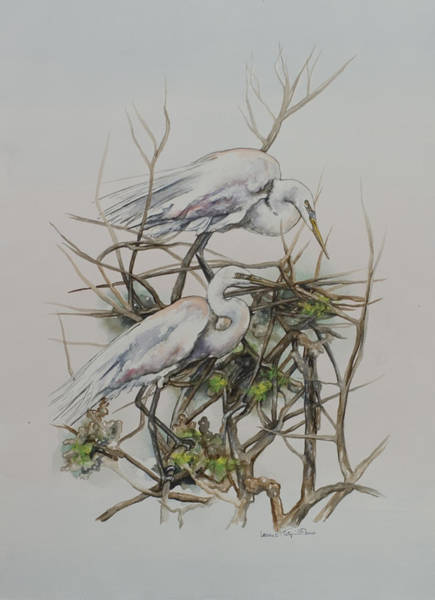 Painting - Two Egrets In A Tree by Laurie Tietjen