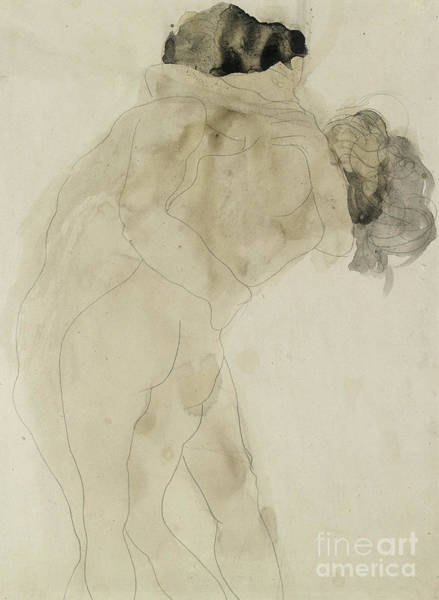Embrace Painting - Two Embracing Figures by Auguste Rodin