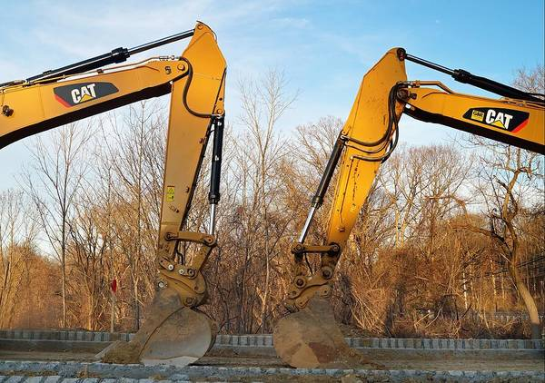 Heavy Duty Truck Wall Art - Photograph - Two Excavators On The Construction Site by Andrea Rea