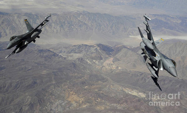 F-16 Photograph - Two F-16 Fighting Falcons Break by Stocktrek Images