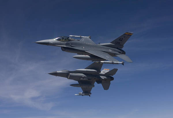 F-16 Photograph - Two F-16s Manuever On An Air-to-air by HIGH-G Productions