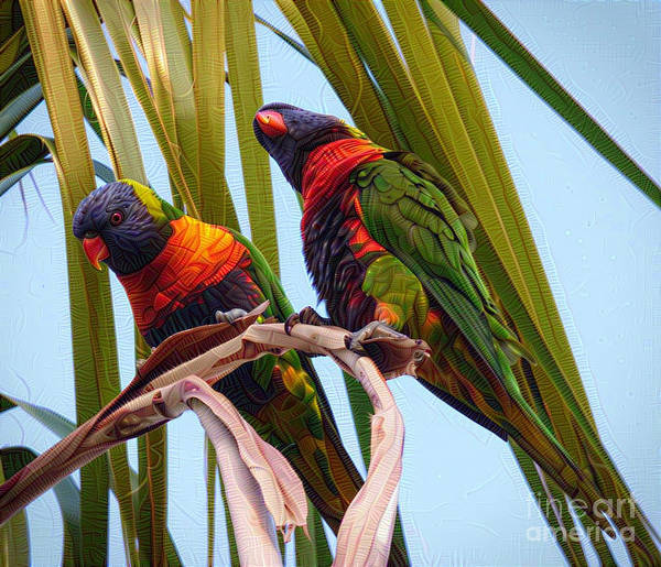 Bright Colours Mixed Media - Two Feathered Friends  by Trudee Hunter