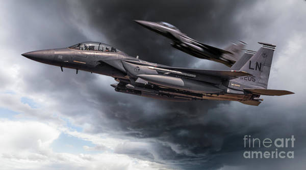 Flyby Photograph - Two Fighter Jets Close Up In Storm Clouds by Simon Bratt Photography LRPS