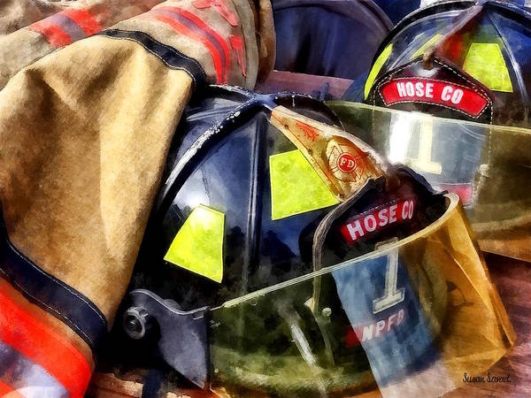 Photograph - Two Fire Helmets And Fireman's Jacket by Susan Savad