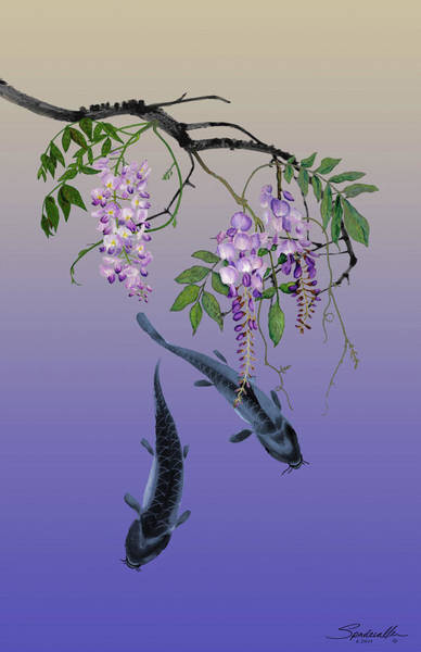 Painting - Two Fish Under A Wisteria Tree by M Spadecaller