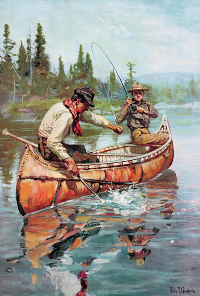 Painting - Two Fishermen In Canoe by Philip R Goodwin