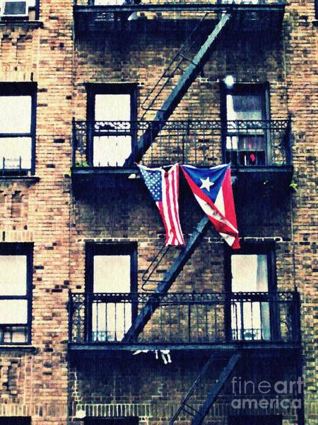 Puerto Rican Photograph - Two Flags In Washington Heights by Sarah Loft
