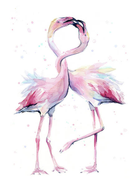 Tropical Bird Painting - Two Flamingos Watercolor Famingo Love by Olga Shvartsur