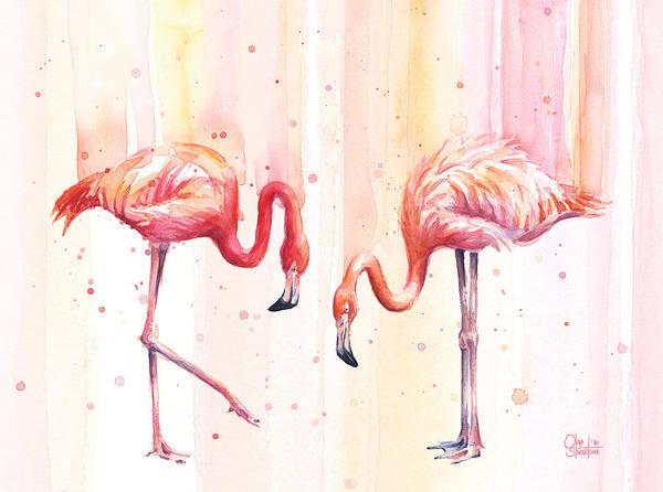 Exotic Wall Art - Painting - Two Flamingos Watercolor by Olga Shvartsur