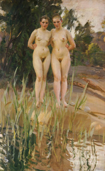 Naked Woman Painting - Two Friends  by Anders Leonard Zorn