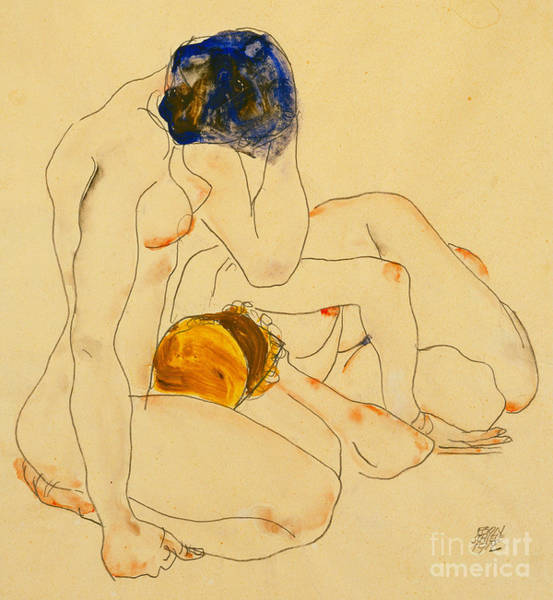 Unclothed Wall Art - Painting - Two Friends by Egon Schiele