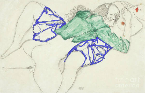 Erotica Drawing - Two Friends, Reclining   Tenderness by Egon Schiele